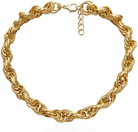 SWAOOS Punk Lock Choker Necklace Pendant Women Collar Statement Brand Gold Color Chunky Thick Chain Necklace Steampunk Men