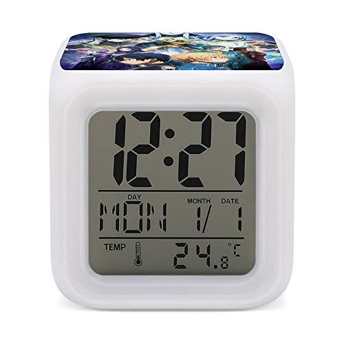 Sword Art O-nline Reloj despertador digital LED con luz nocturna suave y luminosa