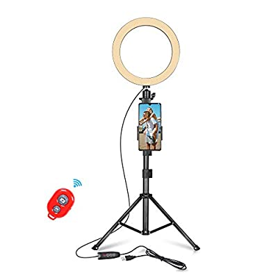 Emart 10-inch Selfie Ring Light with Adjustable Tripod Stand & Cell Phone Holder for Live Stream, YouTube Video, Makeup,Dimmable LED Camera Ringlight with 3 Light Modes & 11 Brightness Levels by Emartinc