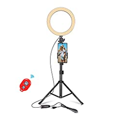 [Kit includes]: (1 x)Ring Light, (1 x)Tripod Stand, (1 x)Pole Mount Phone Holder, (1 x)Bluetooth Remote Control, (1 x)Tripod Mount Phone Holder, our 24-hour friendly customer service, 12 months after-sales quality assurance. [Dimmable Selfie Ring Lig...