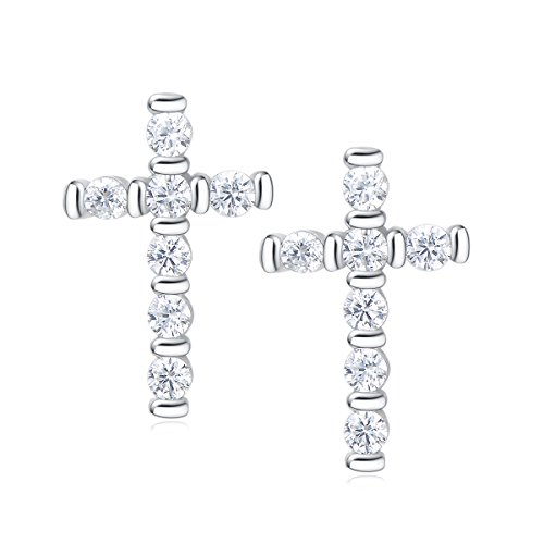 Carleen 14k Gold Plated 925 Sterling Silver CZ Cubic Zirconia Small Tiny Mini Helix Little thin Baby Cartilage Huggie Cross Stud Earrings Women Girls (White Gold)