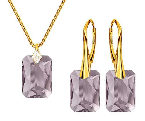 *Beforya Paris* Novedad esmeralda *Light Ametyst* - Plata 925 / Chapado en oro de 24 K - Joyas con cristales de Swarovski Elements - Pendientes y collar con caja de regalo
