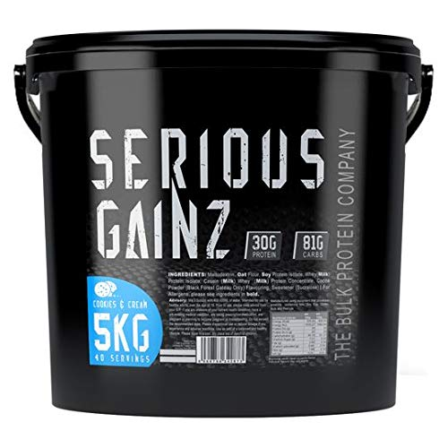 The Bulk Protein Company, Whey Isolate Powder Serious Gainz Weight Gain Mass Gainer 30g Powders, Cookies & Cream, 5 kg
