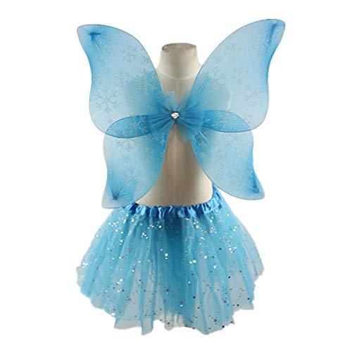 Amosfun 4 Piezas de Princesa de Hadas Set Princesa de Hadas Falda Alas Disfraz de Varita de Hadas Diadema para Fiesta de Carnaval Suministros para Fiestas