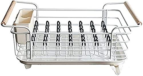 Talladora de secado de platos, escurridor anti-óxido con bandeja de goteo extraíble, soporte para cubiertos y soporte de taza, estera de secado de plato de microfibra, tablero de drenaje, plato ideal