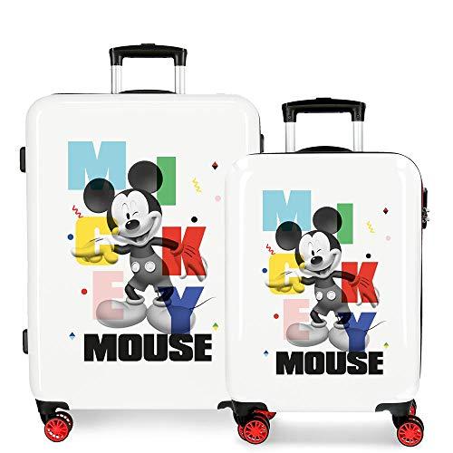 Disney Mickey´S Party Juego de Maletas Blanco 55/68 cms Rígida ABS Cierre de combinación Lateral 104L 6 kgs 4 Ruedas Dobles Equipaje de Mano
