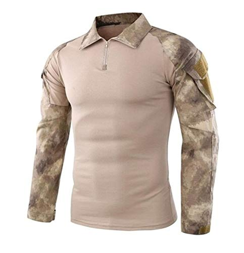 ZZYLHS Ejército táctico Uniforme Militar Camuflaje Airsoft Camisas Probado en Combate rápido Asalto Camisa de Manga Larga Batalla Tactical Strike Camisas (Color : AT AC, Size : 2XL.)