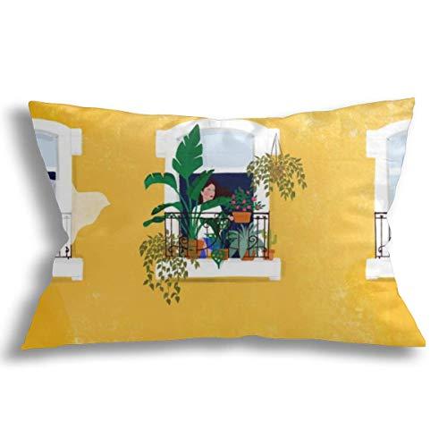 KCOUU Fundas de cojín decorativas de algodón suave transpirable Fundas de almohada lisboa niña diseño moderno para sofá cama coche con cremallera 13 x 21 pulgadas