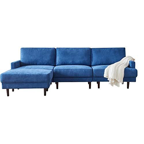 Sofá cama en forma de L de tela moderna con 3 plazas y otomana para sala de estar, apartamento y espacio pequeño (azul oscuro)