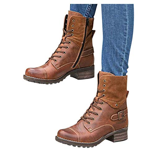 Padaleks Ankle Boots for Women, Ladies High Tops Lace up Short Booties Round Toe Side Zipper Low Heels Combat Boots