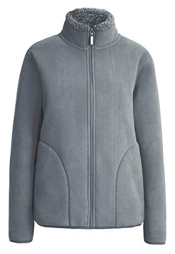 Ecupper Herren Fleecejacke Fleece Futter Full Zip Up Stehkragen Tasche Outdoor Übergangsjacke Winterjacke Grau XL