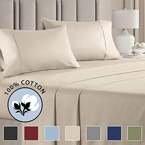 100% Queen Size Sheets Cotton Beige (4pc) Silky Smooth, Cooling 400 Thread Count Long Staple Combed Cotton Queen Sheet Set – 400TC High Thread Count Queen Sheets - Queen Bed Sheets All Cotton