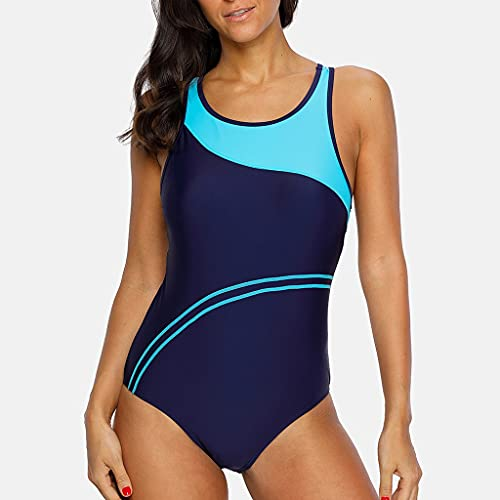 UXZDX. One Piece Frauen Sport Badeanzug Sport Badeanzug Patchwork Badeanzug Gestreifter Badeanzug Frauen Bikini Beach Wear Badeanzug (Color : Blue, Size : Large code)