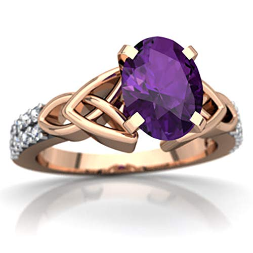 Celtic Knot Valentine Day Engagement Ring 0.99 CTW Oval Cut Amethyst & White CZ Diamonds 14K Rose Gold Fn (10)