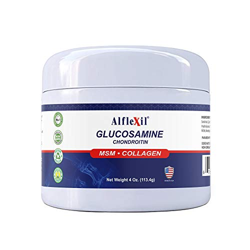 ALFLEXIL Glucosamine & Chondroitin Cream with MSM & Collagen | Natural Cream for Men & Women | Soothe Joint, Bone & Muscle Pains, Improve Mobility, Relieve Discomfort & Speed Up Healing - 4 Oz