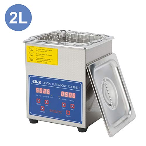 CO-Z Professional Ultrasonic Cleaner with Digital Timer&Heater for Jewelry Glasses Watch Dentures Small Parts Circuit Board Dental Instrument, Industrial Commercial Ultrasound Cleaning Machine 110V
