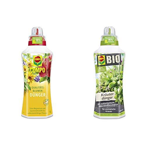 Compo Qualitäts-Blumendünger für alle Pflanzen im Zimmer, auf Balkon und Terrasse, Spezial-Flüssigdünger mit extra Magnesium, 1 Liter & Bio Kräuterdünger für alle Gewürzpflanzen und Kräuter, 500 ml
