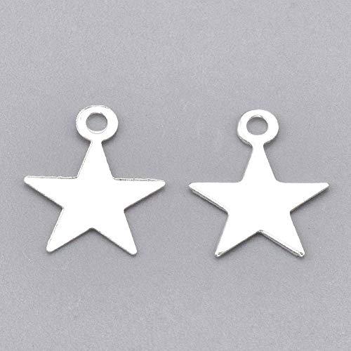 Perlin - Juego de 100 colgantes de metal para manualidades, diseño de estrella, color plateado, para pulseras