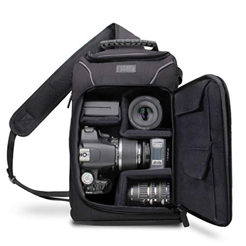 USA Gear Camera Sling Backpack Case with Adjustable Padded Dividers , Accessory Pockets , Padded Back Support & Padded Cross Body Strap plus Durable Nylon Exterior , Zippered Side Access & Rain Cover