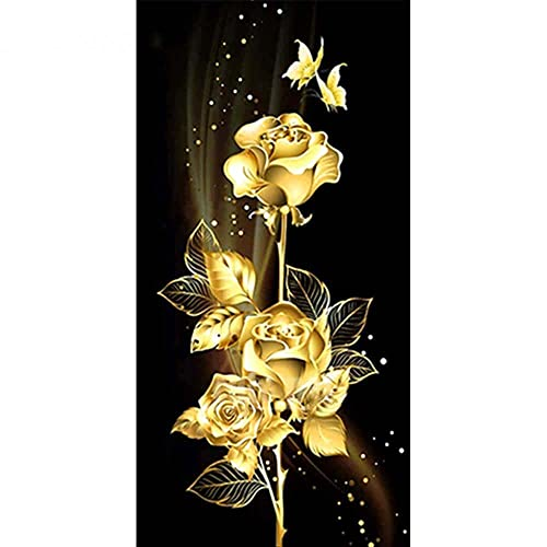 LIZHIOO Pintura De Diamond Rose, 5D Plaza Completa/Diamantes Redondos Bordado Flower Wall Decorations Craft Kit (Size : Full Square 30X60cm)