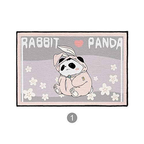 SKTYEE Estera de Piso de Conejo Rosa de Dibujos Animados Alfombra de Panda Linda Alfombra de Puerta de Dormitorio Alfombra de Puerta de Entrada de casa-50x80 cm_Panda Bunny