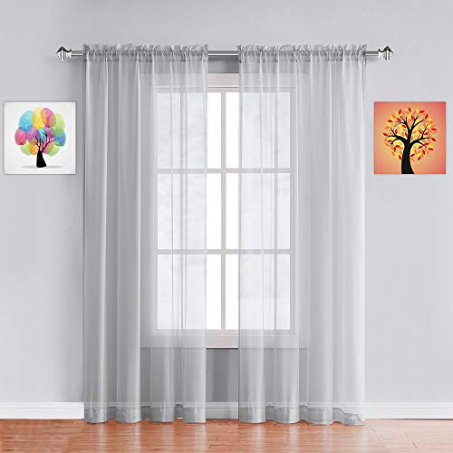 """Warm Home Designs Pair of Standard Length Light Silver Sheer Window Curtains. Each Voile Drape is 56 X 84 Inches in Size. Great for Kitchen, Living, Kids Room. 2 Fabric Panels. AM Silver 84"""""""