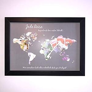 ANGEBOT_Geldgeschenk zur Hochzeit *Weltkarte* inkl. Rahmen *Grau*