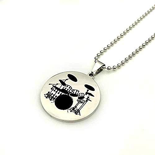 N-G Klassische Mode Persönlichkeit Edelstahl Anhänger Halskette für Männer und Frauen leicht zu Musiker und Schlagzeuger zu passen