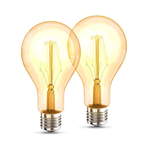 B.K.Licht 2er Set A75 Edison Vintage Glühbirne I E27 4W 2200K 320lm I Warmweiß I LED Glühbirne I Retro Glühlampe I Filament