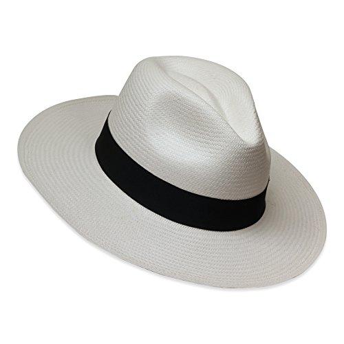 Tumia LAC - Cappello Panama Fedora - Versione Non Arrotolabile - Bianco con Banda Nera - 62cm