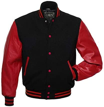 GREY Brand Varsity Jacket, Wool Body with Leather Arms Letterman Baseball Unique & Stylish (Black-Red, L)