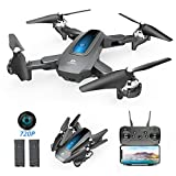 DEERC Drone with Camera 720P HD WiFi FPV for Kids and Adults, Foldable RC Qudcopter with Function of Waypoints, Headless Mode, Altitude Hold, 24 Min Long Flight time, Compatible with VR Headset