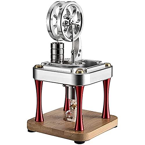 Huachaoxiang Stirling Motor, Refrigerado por Agua Alta Temperatura Stirling Motor Modelo Stirling Motor Kit Gift Creativo,Plata