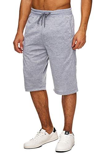 Hidyliu Mens Elastic Waist Drawstring Workout Gym Joggers 3/4 Shorts Summer Casual Sweat Short Pants with Pockets (Light Grey Workout Shorts, XL)