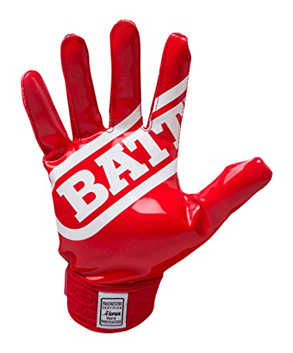 Battle Double Threat Football Gloves – Ultra-Tack Sticky Palm Receivers Gloves – Pro-Style Receiver Gloves, Adult, Small, Red