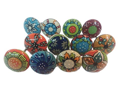 12x mix vintage look Flower pomelli in ceramica maniglia cassetto armadio Pull Knobsworld 001