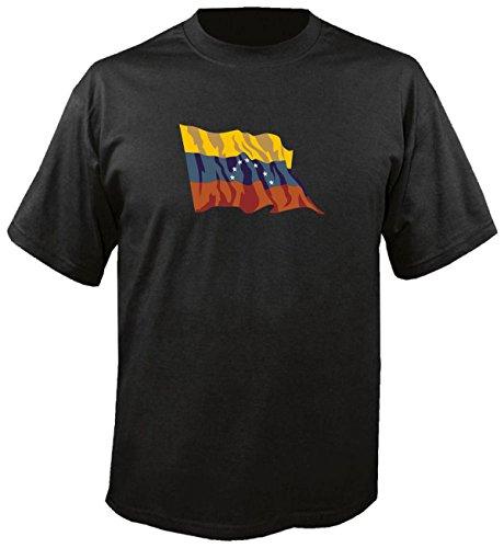 T-Shirt für Fußball LS195 Ländershirt XXL Mehrfarbig Venezuela - Venezuela Fahne/Flagge - Fanshirt - Fasching - Geschenk - Fasching - Sportshirt schwarz