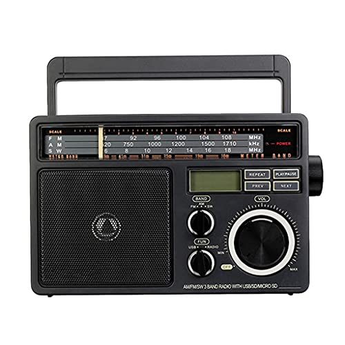 RYSF Portable Radio FM AM SW Radio Receiver with Digital MP3 Player Loud Volume Big Speaker and Handle for Home Garage