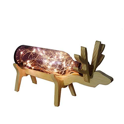 Creative ciervo mesa LED Lámpara de mesa Madera y cristal escritorio con interruptor USB habitación de los Niños Light Night hogar decoración