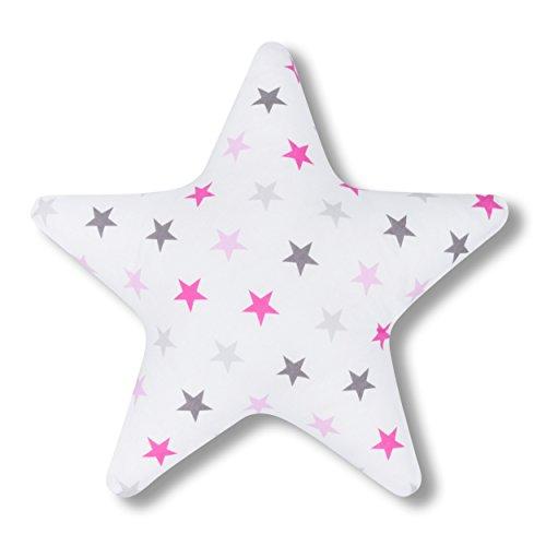 Amilian® Kissen Stern Sternchen GROß rosa Dekokissen Kuschlig Flauschig ca. 60 cm