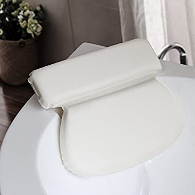 Belifu Comfort Bath Pillow, Bathtub Spa Cushion for Neck, Shoulder and Head Support, Hot Bath Tub and Jacuzzi Wedge, Soft Waterproof Headrest with Suction Cups, Quick Dry