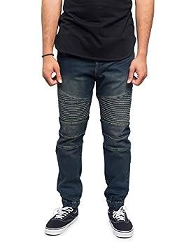 Victorious Men s Fashion Slim Fit Biker Denim Joggers Jeans JG873 - Vintage - Medium - BB8H