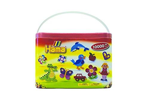 Hama Perlen 202-67 Bügelperlen im Eimer Nr. 202 mit ca. 10.000 bunten Midi Bastelperlen mit Durchmesser 5 mm in Volltonfarben Mix, kreativer Bastelspaß für Groß und Klein