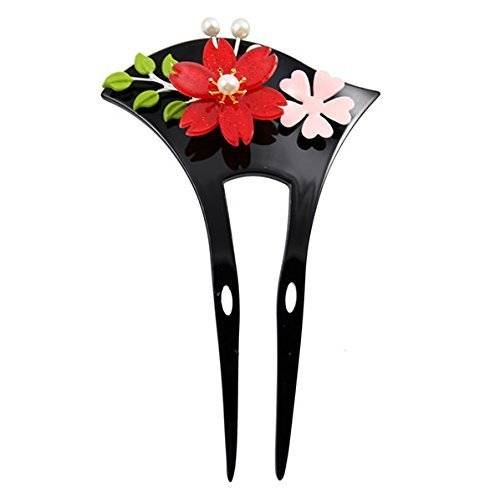 FINGER LOVE Acrylic 2-Prong Geisha Hair Stick Fork with 3D Flowers and Leaves (Black)