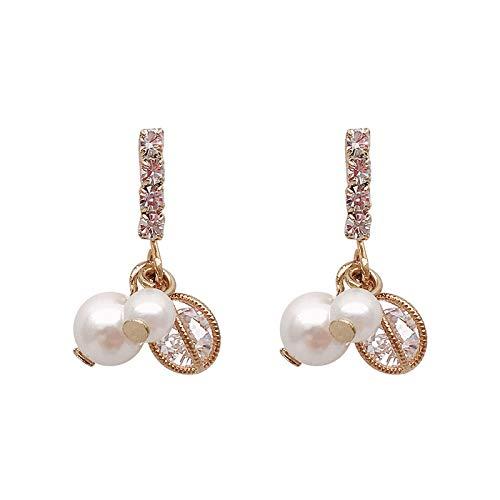 Aguja de plata Diamante de imitación simple Pendientes de perlas pequeños Pendientes de temperamento salvaje Pendientes de niña Pendientes pequeños