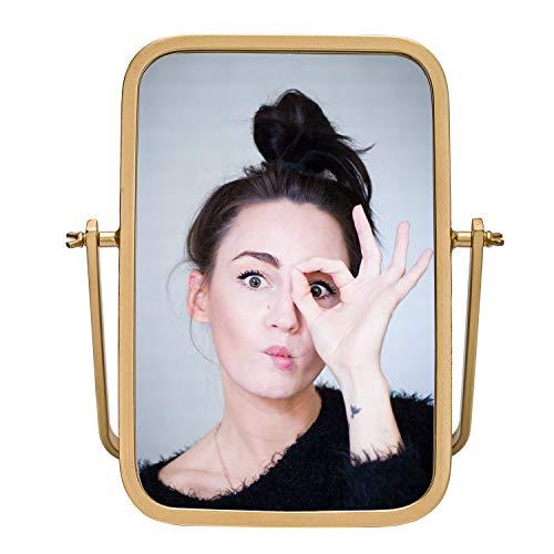 Geloo Vanity Table Top Mirror-Desk Mirror 360° Swivel Mirror,Small Standing Mirror Modern Gold Metal Framed for Bathroom,Boho,Dresser,Countertop,Bedroom,Antique