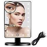 FUNTOUCH Espejo Maquillaje con 21 Luz Led, 1X / 10X Aumento Espejo de Maquillaje, Fuente de Alimentación Dual, 180 Rotación, Sensor Táctil Inteligente, Brillo Adjustable Espejo Tocador (Negro)