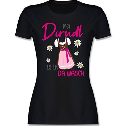Kompatibel mit Oktoberfest Damen Trachtenshirt - MEI Dirndl is in da Wäsch Edelweiss Grau - S - Schwarz - bayrische Tracht Damen - L191 - Tailliertes Tshirt für Damen und Frauen T-Shirt