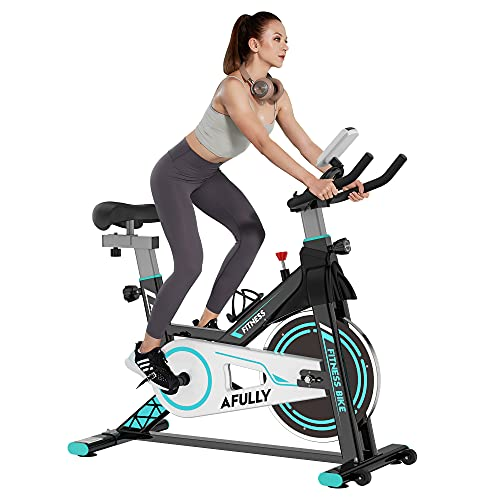 Afully Exercise Bike Indoor Cycling Bike Stationary for Home Workout Gym with Tablet Holder and LCD Monitor,Belt Drive System Smooth and Quiet