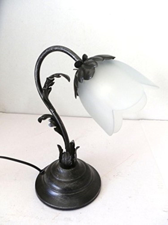 Tischleuchte Nachttischlampe aus Schmiedeeisen schwarz silber mit Glas Acantus